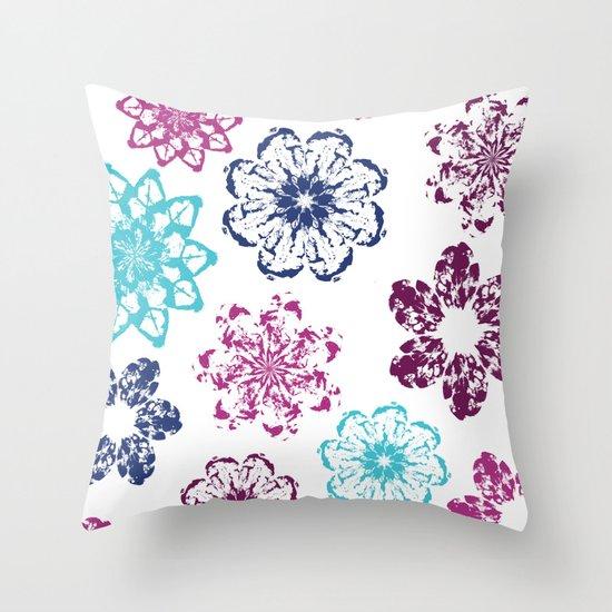 Batik Flowers Throw Pillow