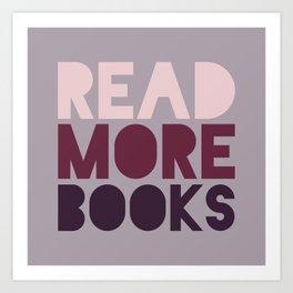 Read More Books (Purple) Art Print