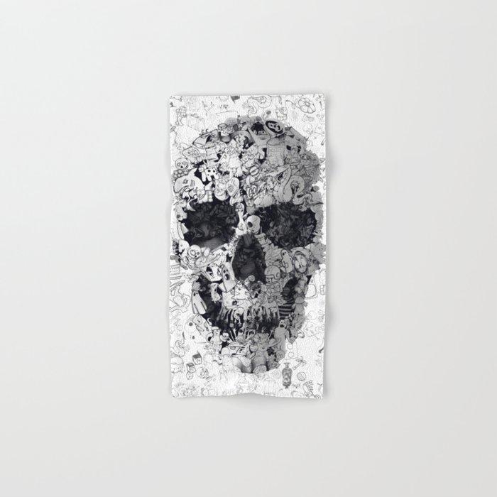 Doodle Skull BW Hand & Bath Towel