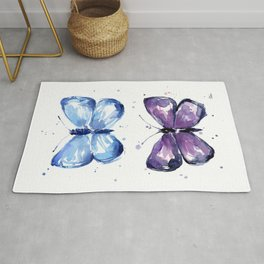 Butterflies Watercolor Blue and Purple Butterfly Rug
