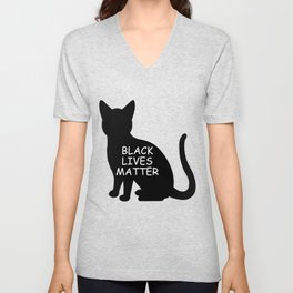 Black cat lives matter Unisex V-Neck