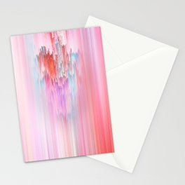 Abstract Cascade Glitch 2.Red and Pink Stationery Cards