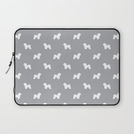 Bichon Frise dog pattern grey and white minimal pet patterns dog breeds silhouette Laptop Sleeve
