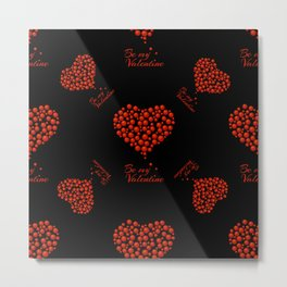 Seamless pattern of red bubble hearts  Metal Print