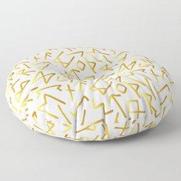 Scrambled Golden Runes Light Floor Pillow