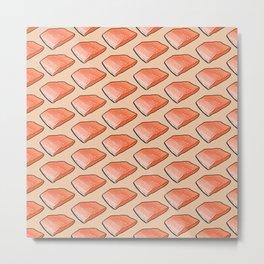 Salmon Fish Fillet Fiesta, Seafood on Peach Metal Print