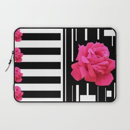 MODERN ABSTRACT PINK ROSES WHITE-BLACK ART Laptop Sleeve