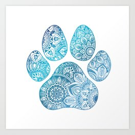 Paw print mandala Art Print
