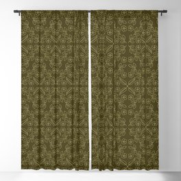 Floral leaf motif running stitch style. Blackout Curtain