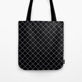 Pantone Lilac Gray Thin Line Stripe Grid (Pinstripe Pattern) on Black Tote Bag