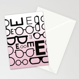 Eye Chart Eyeglasses Pink and Black Stationery Cards