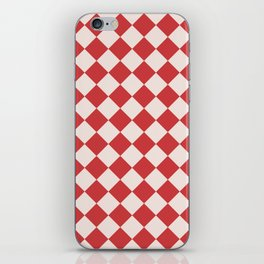 Red and White Checkered Diamond Pattern iPhone Skin