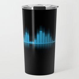 Cool Blue Graphic Equalizer Music on black Travel Mug