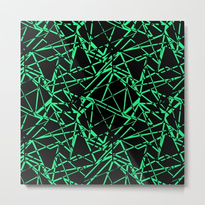 Abstract black and green pattern .Line . Metal Print