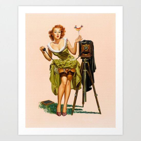 Vintage Camera Pinup girl  Art Print