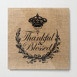 french country jubilee crown thanksgiving fall wreath beige burlap thankful and blessed Metal Print