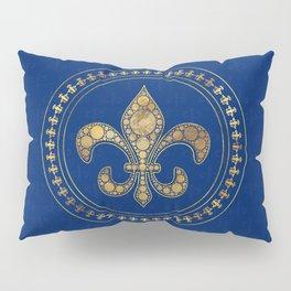 Fleur-de-lis - Gold and Royal Blue Pillow Sham