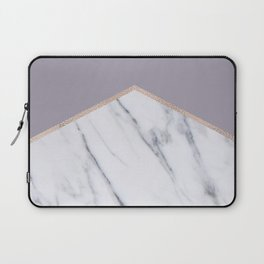 Smokey lilac - rose gold geometric marble Laptop Sleeve