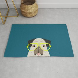 Emerson - Pug with neon Hipster Glasses, Cute Retro Dog, Dog, Husky with Glasses, Funny Dog Rug