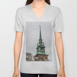 Steeple of All Hallows by the Tower Anglican Church near Tower of London England Unisex V-Neck