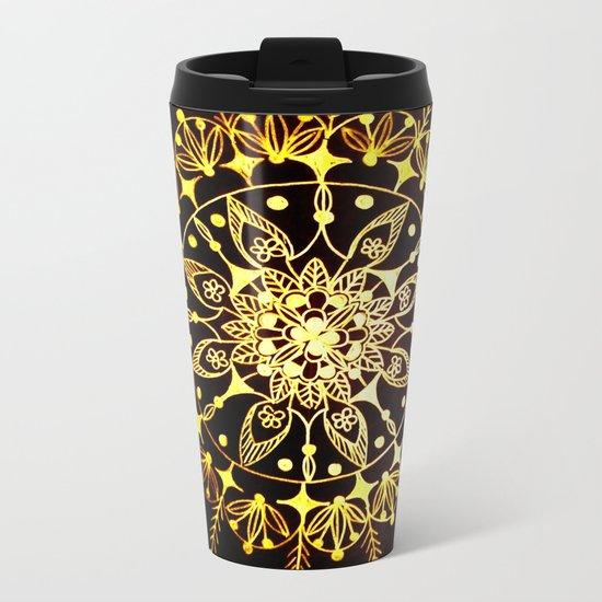 Gold Metallic Mandala on Black Background #2 Metal Travel Mug