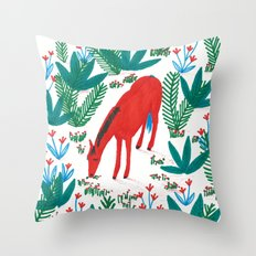 Red Horse Throw Pillow