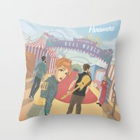 paramore Throw Pillows featuring Paramore - Welcome to Real World by Zinenkoij