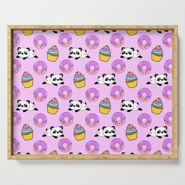 Cute funny Kawaii chibi little playful baby panda bears, happy sweet donuts and adorable yummy cupcakes light pastel pink pattern design. Nursery decor. Serving Tray