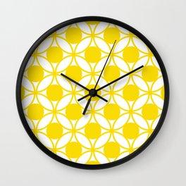 Geometric Floral Circles Summer Sun Shine Bright Yellow Wall Clock