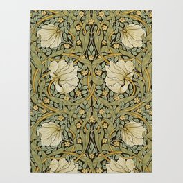 William Morris Pimpernel Art Nouveau Floral Pattern Poster