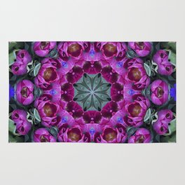 Floral finery - kaleidoscope of blue, plum, rose and green 1650 Rug