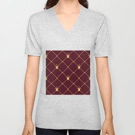 Luxury crown gold style and dotted square web seamless pattern on brown background Unisex V-Neck