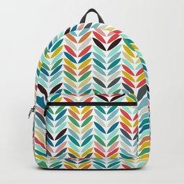 llama leaf arrow chevron white Backpack