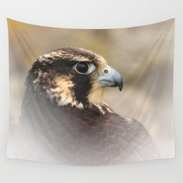 Vignetted Profile of a Peregrine Falcon Wall Tapestry