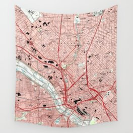 Dallas Texas Map (1995) Wall Tapestry
