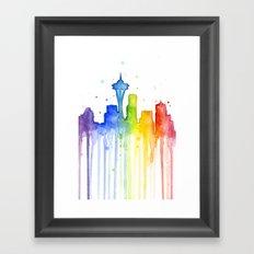 Seattle Skyline Rainbow Watercolor Framed Art Print