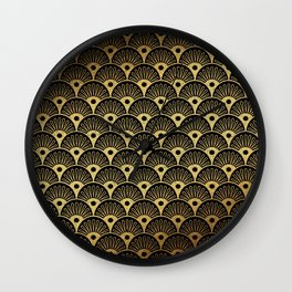 Wonderful gold glitter art deco pattern on black background - Luxury design for your home Wall Clock
