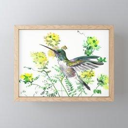 mmingbird design green yew Hummingbird and Yellow Flowers Framed Mini Art Print