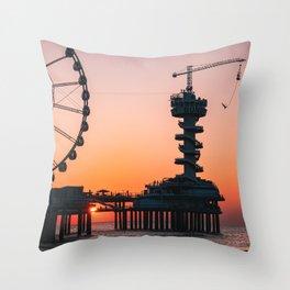Sunset Bungee Pier Scheveningen Amsterdam Throw Pillow