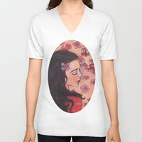 snow white V-neck T-shirts featuring Snow White by Sarah Larguier