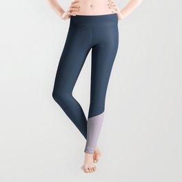Dark Blue & Pastel Pink - oblique Leggings