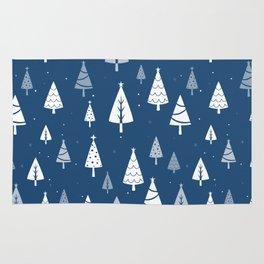 Christmas Tree Pattern (Blue) Rug