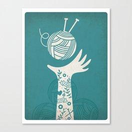 Yarn Love - Teal  Canvas Print