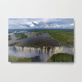 Victoria Falls with Rainbow, Zambia and Zimbabwe, Africa Metal Print