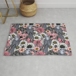 Gray jays and flowers Rug