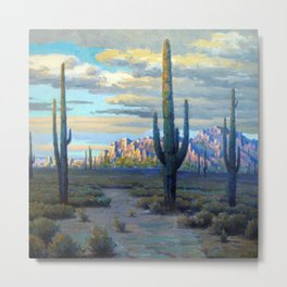 Superstition Mountains and Desert Landscape by John Marshall Gamble Metal Print