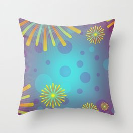 Colorful Glowing Geometric Floral Pattern Throw Pillow