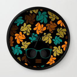Afro Diva: Fall Colors Brown Gold Teal Wall Clock
