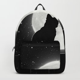 Silent Night Cat and full moon Backpack
