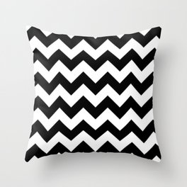 BLACK AND WHITE CHEVRON PATTERN - THICK LINED ZIG ZAG Throw Pillow